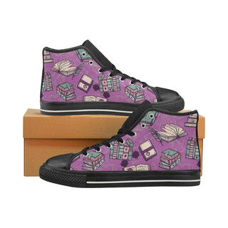 Book Lover Black Women's Classic High Top Canvas Shoes - TeeAmazing