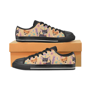 Chihuahua Flower Black Canvas Women's Shoes/Large Size (Model 018) - TeeAmazing