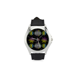 Lotus and Mandalas Women's Classic Leather Strap Watch - TeeAmazing