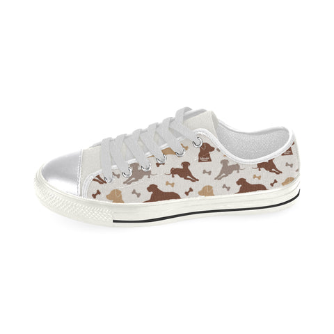 Labrador Retriever Pattern White Canvas Women's Shoes (Large Size) - TeeAmazing
