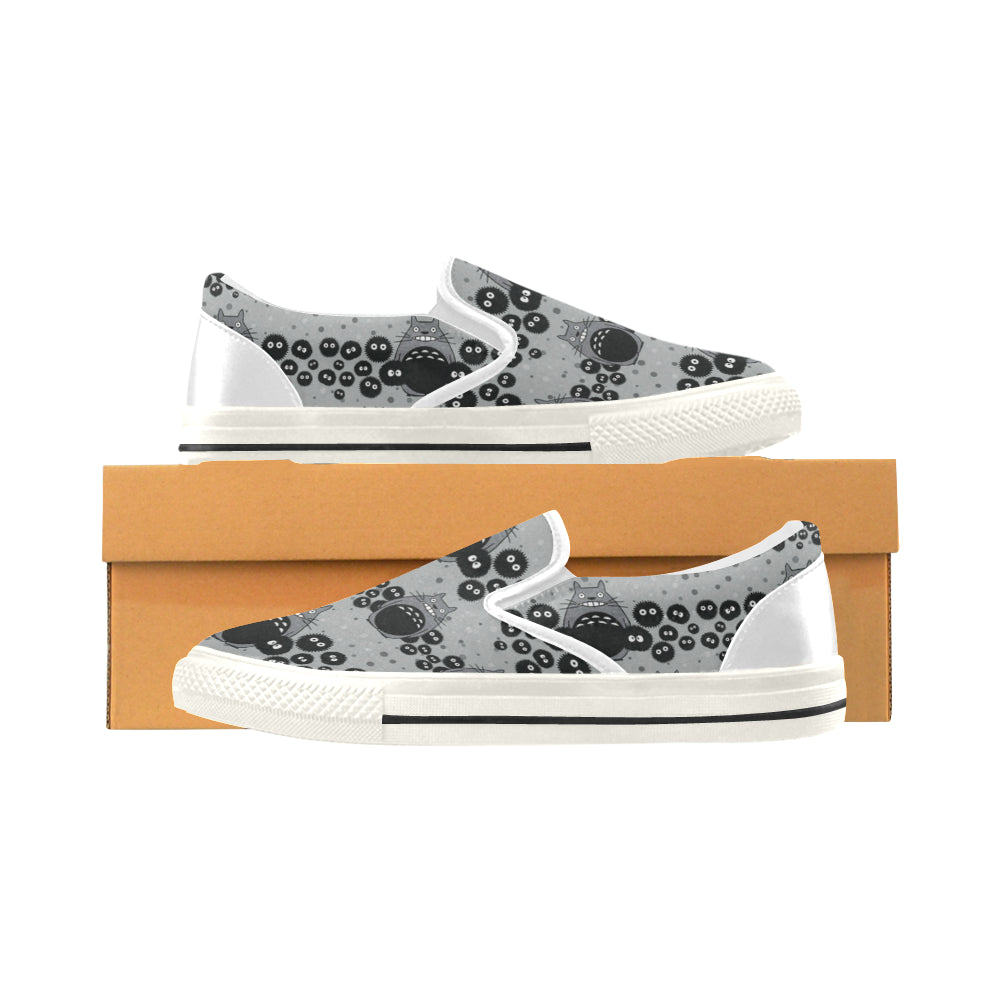 Totoro Pattern White Women's Slip-on Canvas Shoes/Large Size (Model 019) - TeeAmazing