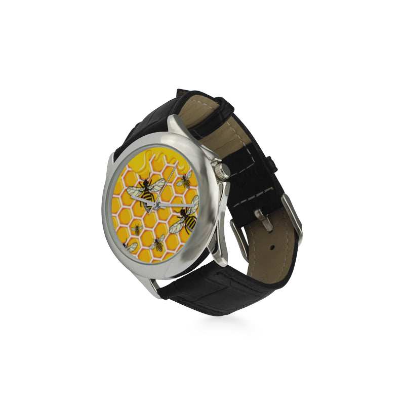 Bee Pattern Women's Classic Leather Strap Watch - TeeAmazing