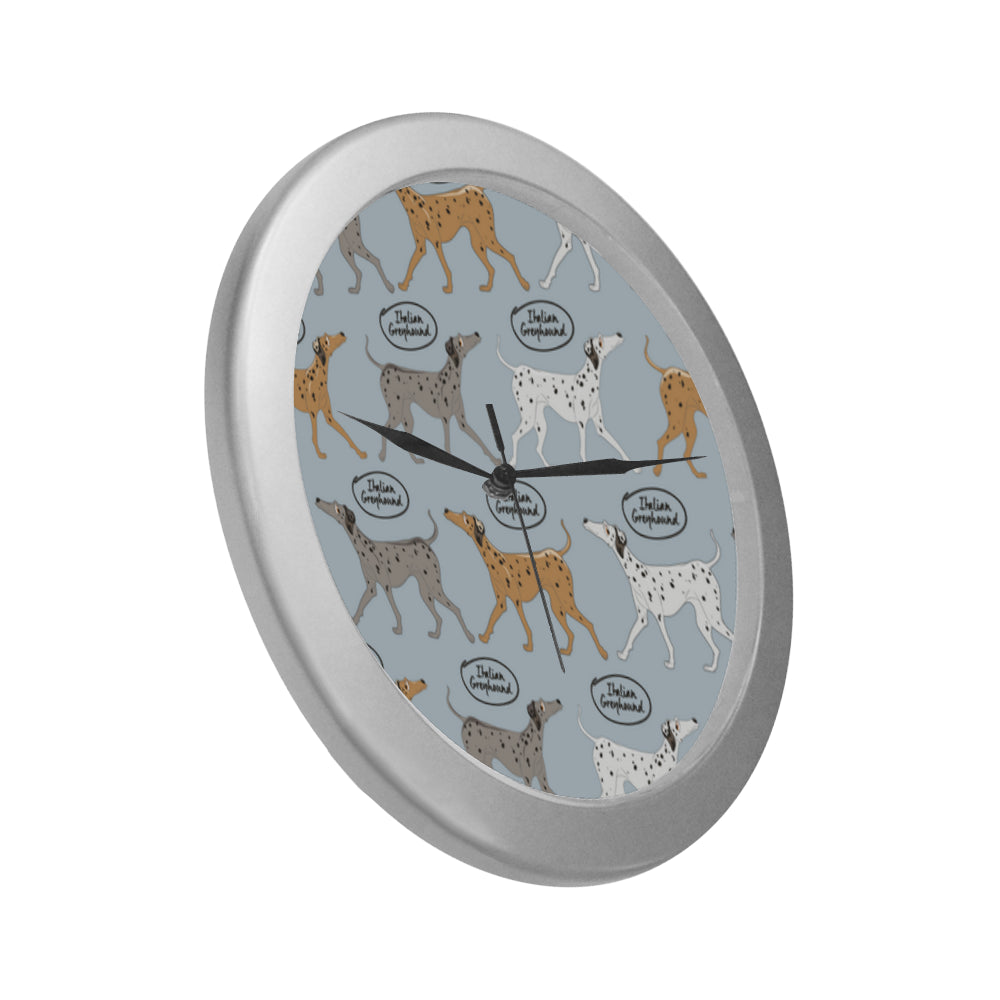 Italian Greyhound Pattern Silver Color Wall Clock - TeeAmazing