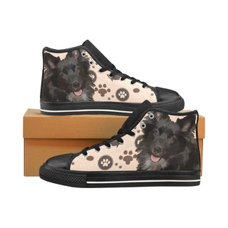 Schip-A-Pom Dog Black Men's Classic High Top Canvas Shoes /Large Size (Model 017) - TeeAmazing