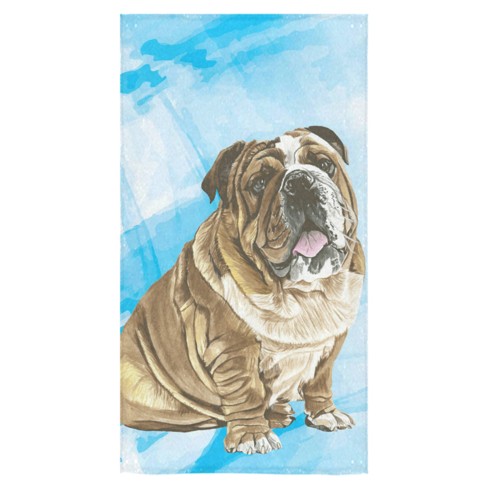 "English Bulldog Water Colour No.1 Bath Towel 30""x56"" - TeeAmazing"