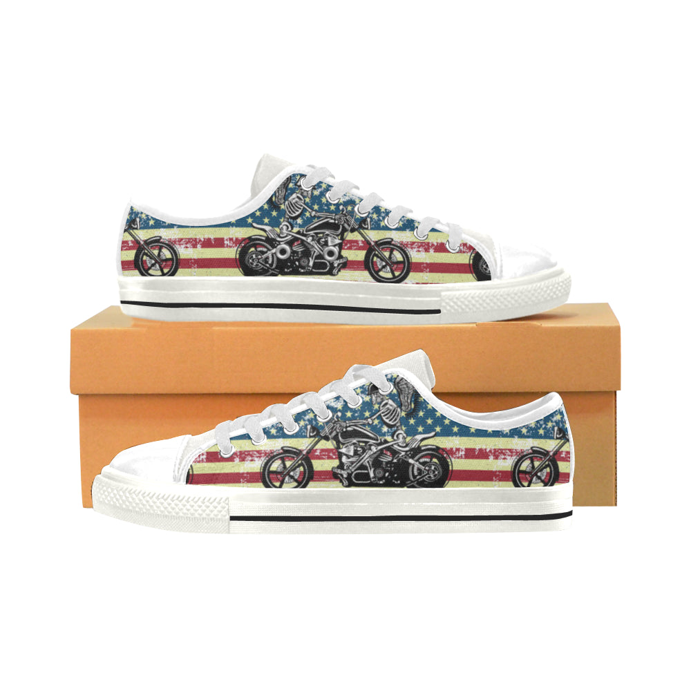 Skeleton Biker White Men's Classic Canvas Shoes - TeeAmazing