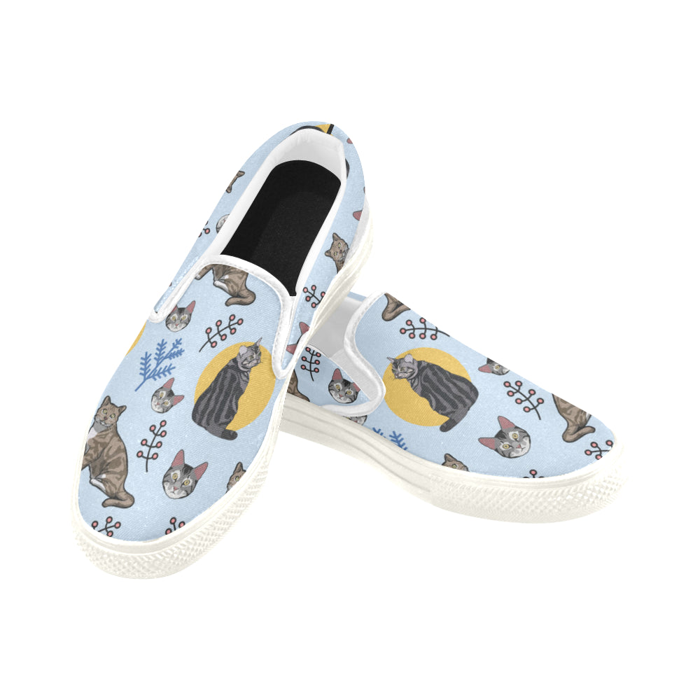 American Shorthair White Women's Slip-on Canvas Shoes - TeeAmazing