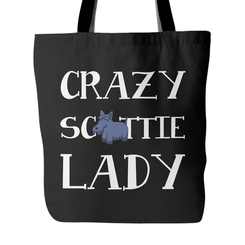 Crazy Scottie Lady Dog Tote Bags - Scottish Terrier Bags - TeeAmazing - 1
