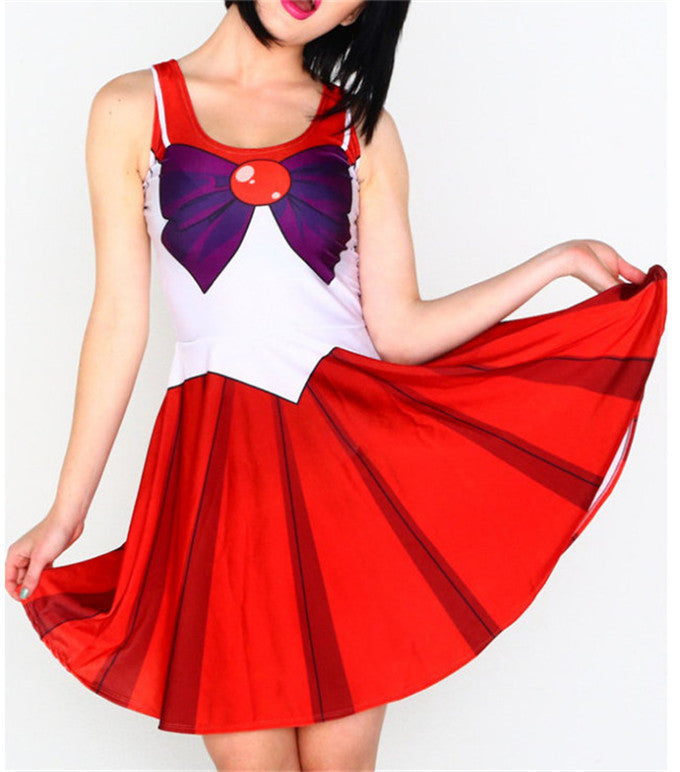 One Size Sailor Moon Tsukino Usagi Costume Cosplay Fancy Dress Pleated Skirt - TeeAmazing
