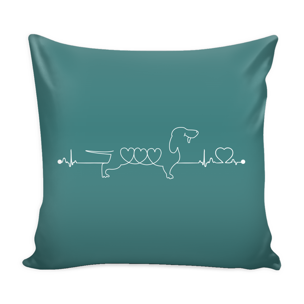 Dachshund Heartbeat Dog Pillow Cover - Dachshund Accessories - TeeAmazing