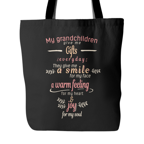 My Grandchildren Give Me Gifts Tote Bags - Grandma Bags - TeeAmazing