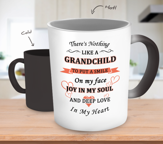 Grandchild Put A Smile On My Face Color Changing Mug - Grandma Mug - TeeAmazing