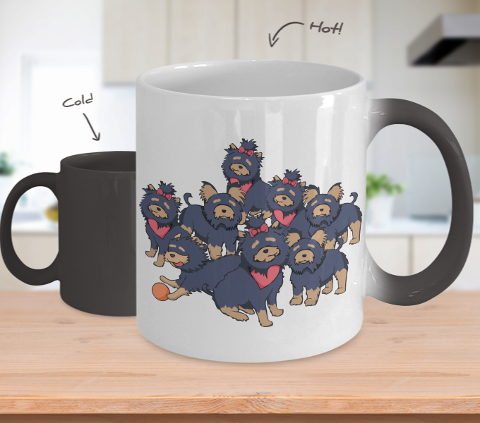 Pattern Yorkshire Terrier Color Changing Mugs & Coffee Cups - Yorkshire Terrier Coffee Mugs - TeeAmazing