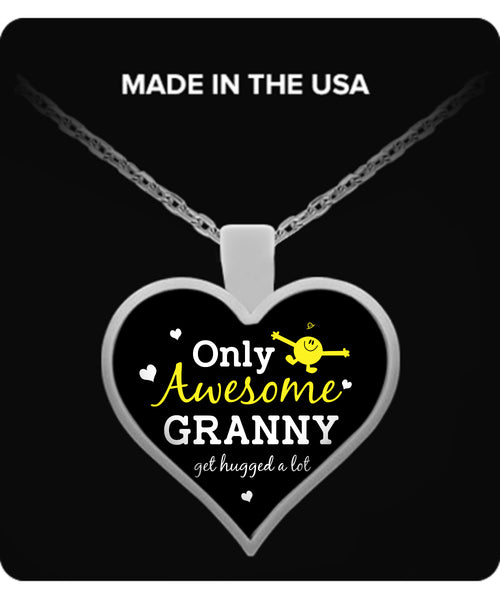 Only Awesome Granny Get Hugged A Lot Necklaces & Pendants - Grandma Necklaces - TeeAmazing - 1