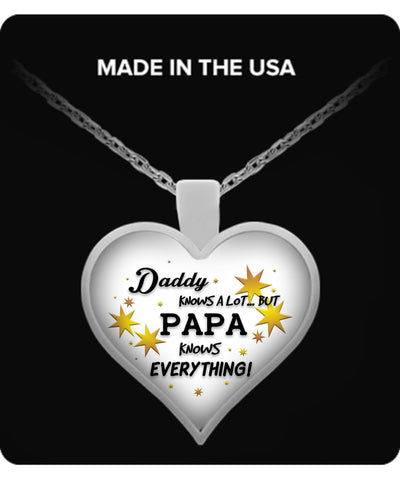 PAPA Knows Everything Necklace - PAPA Necklace - TeeAmazing