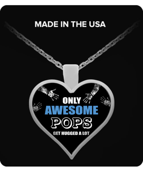 Only Awesome Pops Get Hugged A Lot Necklaces & Pendants - Grandpa Necklaces - TeeAmazing - 3