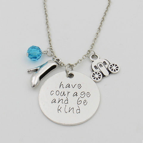 "Cinderella movie inspired vintage necklace ""Have courage and be kind"" Fairy Godmother Glass Slipper Magic Pumpkin Car Pendant - TeeAmazing"