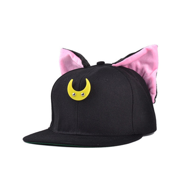 Lovely Sailor Moon Tsukino Usagi Luna Snapback Cat Ears Hip Hop Hat Baseball Cap 2 Colors - TeeAmazing