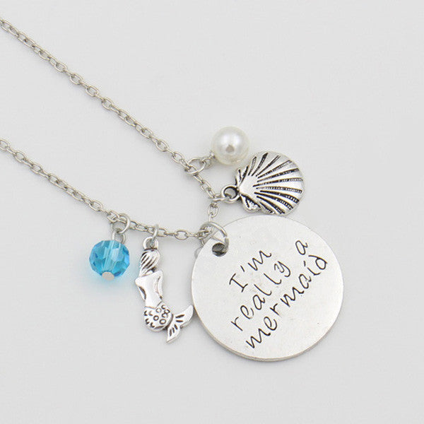 "Ariel Little Mermaid Necklace ""I'm really a mermaid"" Handwriting Letter Necklace, the Pearls Maxi Necklace, Collier Femme Kolye Jewelry - TeeAmazing"