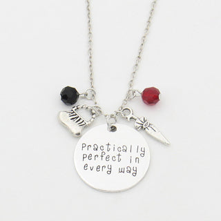 "Mary Poppins ""Practically perfect in every way"" Hand Stamped Letter Necklace, Handbag, Umbrella, Crystals Charms Necklace - TeeAmazing"