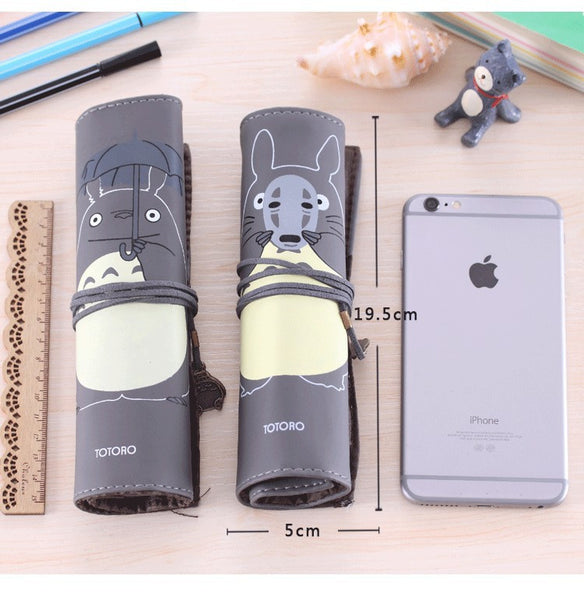 Totoro PU Leather Roll Pencil Case Accessories Gifts - TeeAmazing - 3