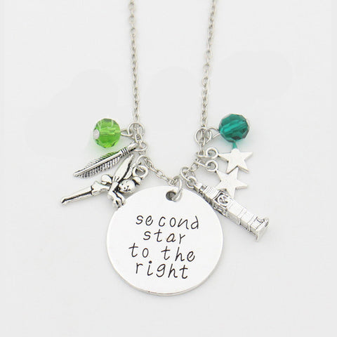 "Peter Pan Crystals Necklace ""Second Star to the Right"" Letter Necklaces,Tinkerbell Neverland Tower,Leaf,stars, Movie Jewelry - TeeAmazing"