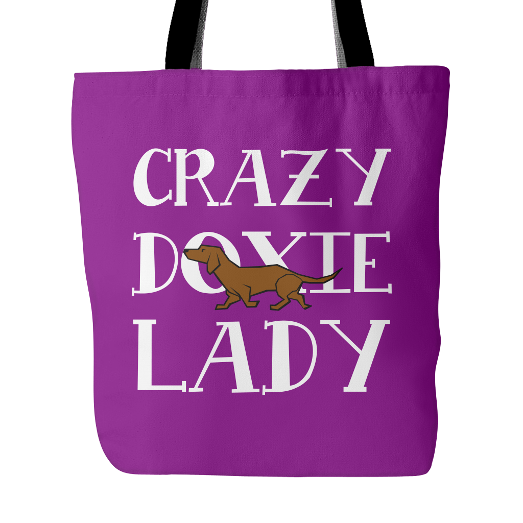 Crazy Doxie Lady Dog Tote Bags - Dachshund Bags - TeeAmazing