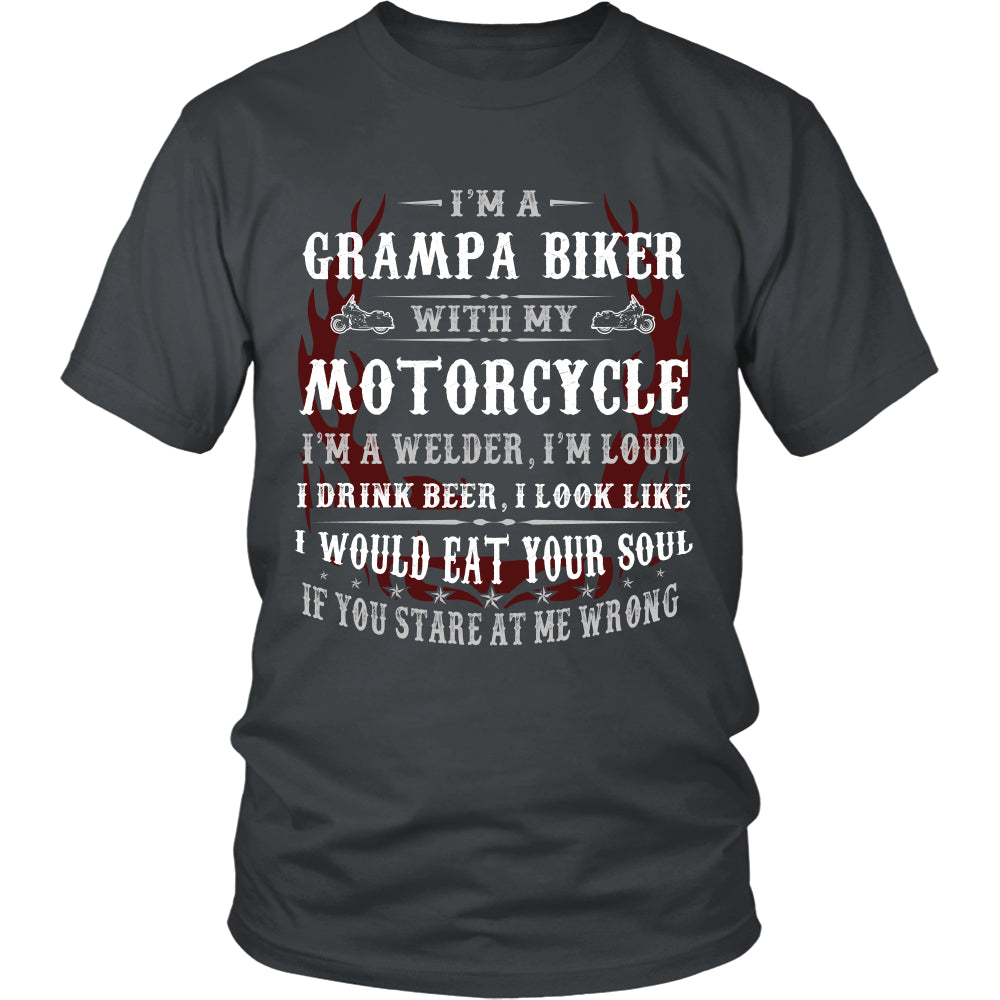 Grampa Biker With My Motorcycle T-Shirt - Grampa Motorcycle Shirt - TeeAmazing