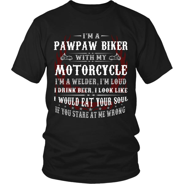 Pawpaw Biker With My Motorcycle T-Shirt - Pawpaw Motorcycle Shirt - TeeAmazing - 5