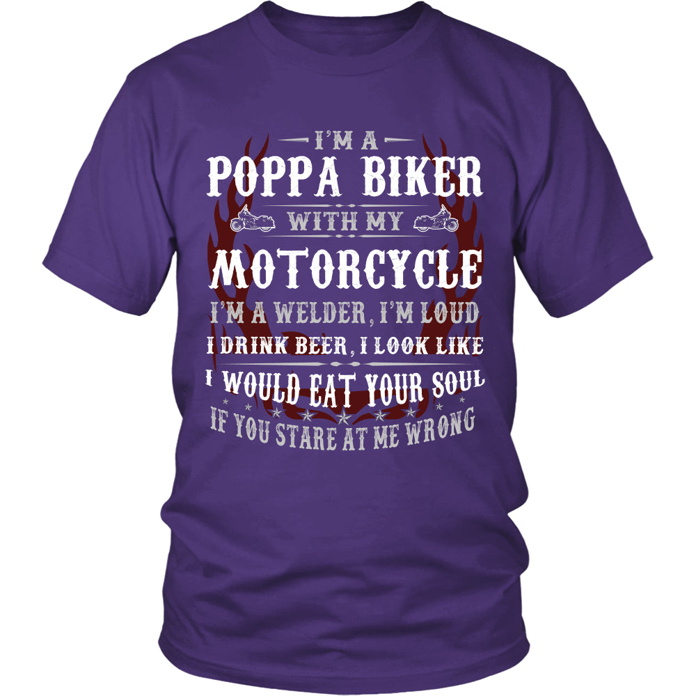 Poppa Biker With My Motorcycle T-Shirt - Poppa Motorcycle Shirt - TeeAmazing