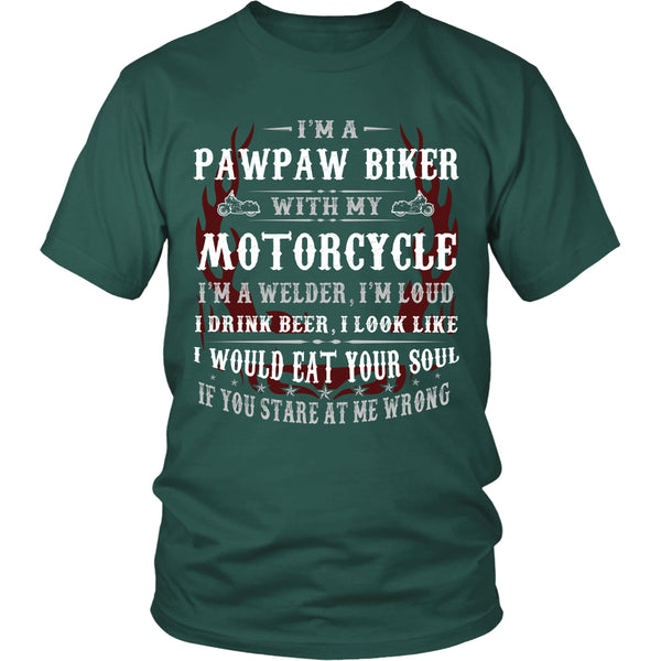 Pawpaw Biker With My Motorcycle T-Shirt - Pawpaw Motorcycle Shirt - TeeAmazing - 3