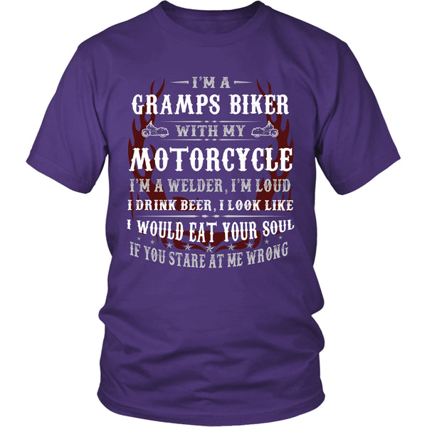 Gramps Biker With My Motorcycle T-Shirt - Gramps Motorcycle Shirt - TeeAmazing - 2