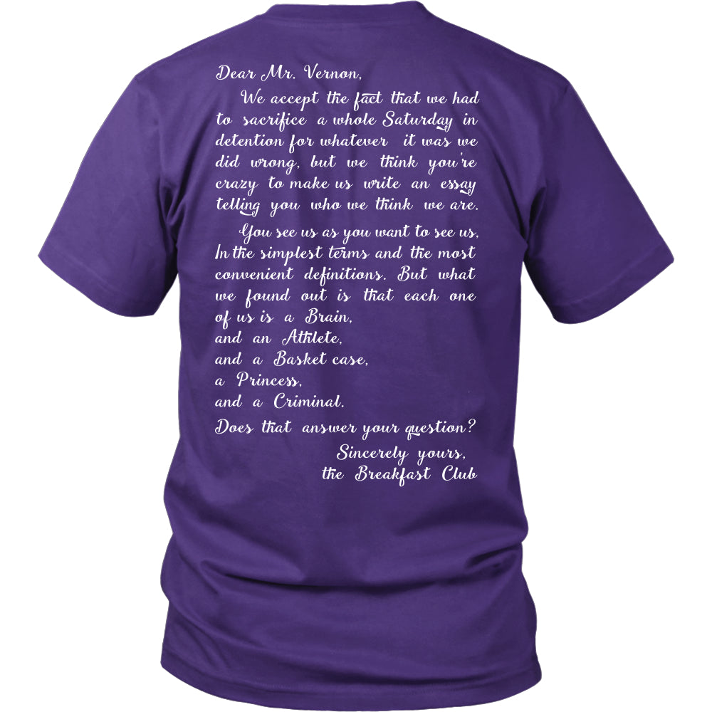 Sincerely Yours T Shirts, Tees & Hoodies - The Breakfast Club Shirts - TeeAmazing
