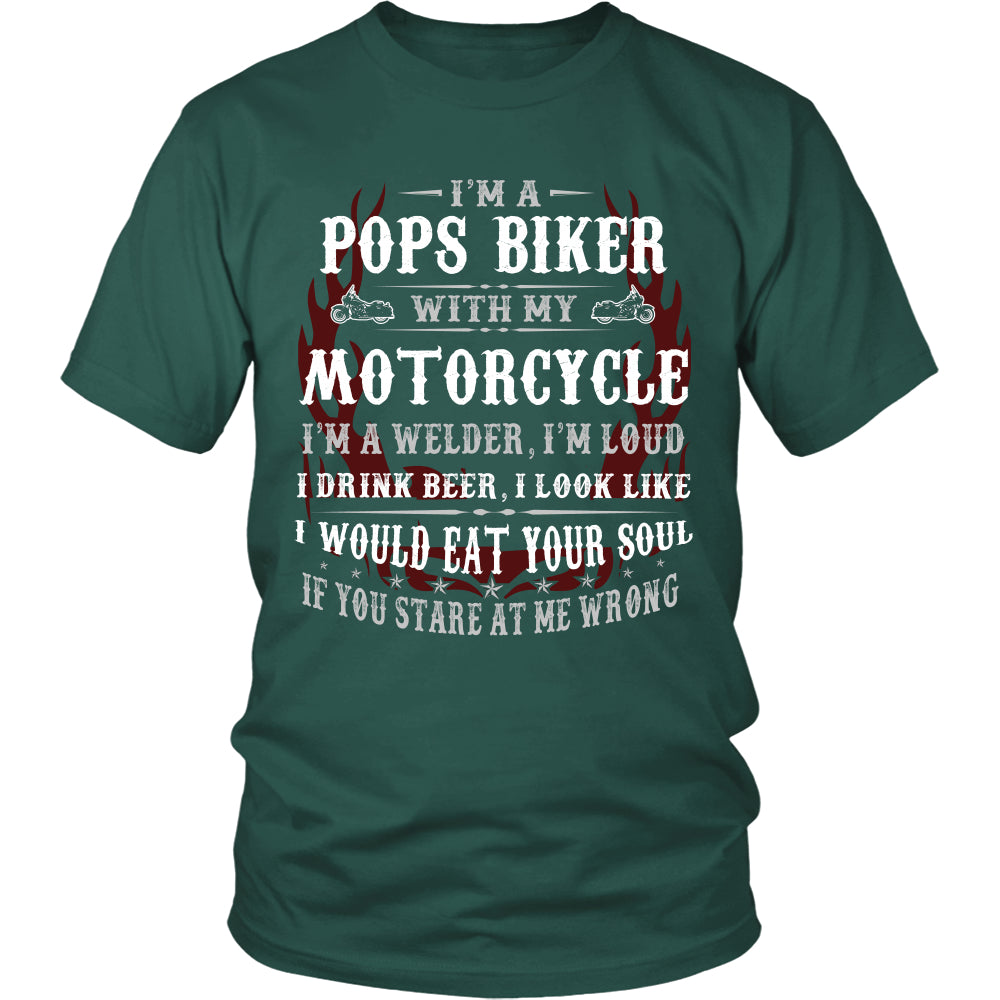 Pops Biker With My Motorcycle T-Shirt - Pops Motorcycle Shirt - TeeAmazing
