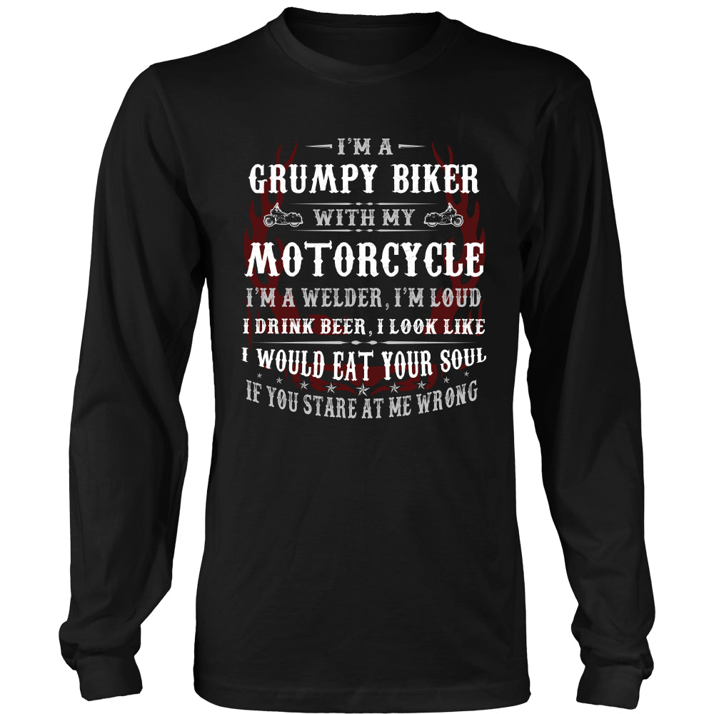 Grumpy Biker With My Motorcycle T-Shirt - Grumpy Motorcycle Shirt - TeeAmazing