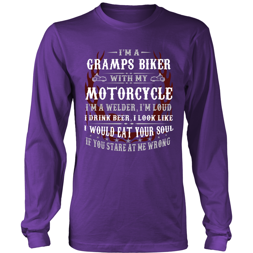 Gramps Biker With My Motorcycle T-Shirt - Gramps Motorcycle Shirt - TeeAmazing