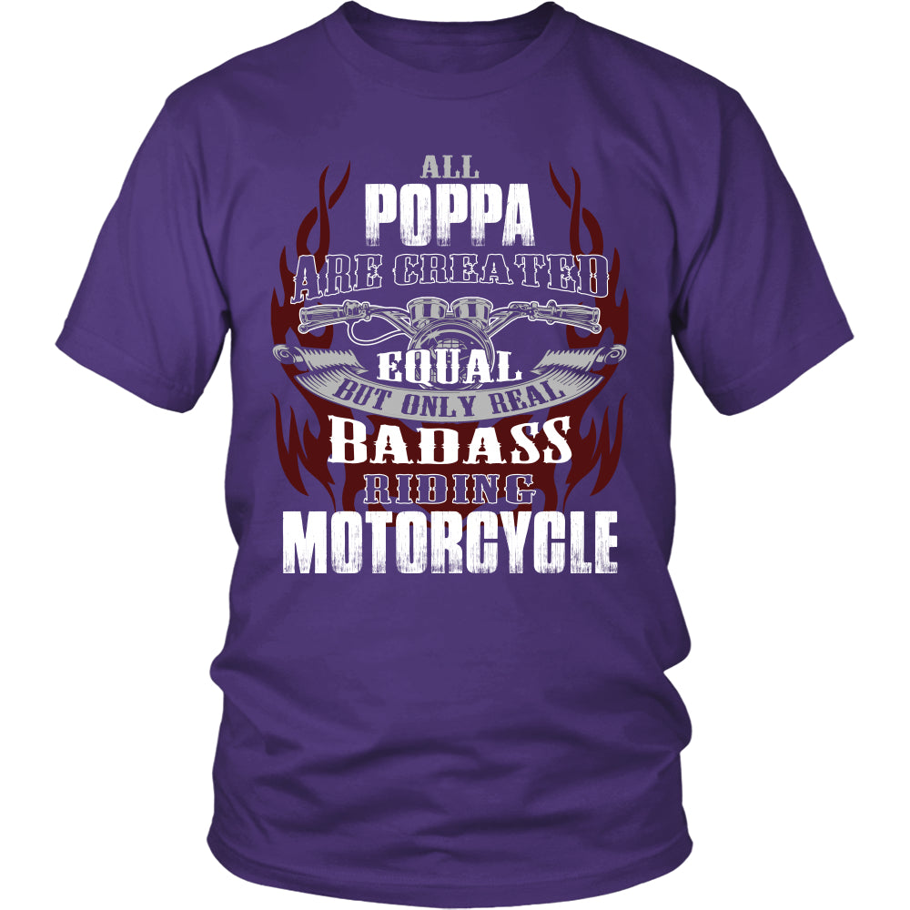Created Equal Poppa Motorcycle T-Shirt - Poppa Motorcycle Shirt - TeeAmazing