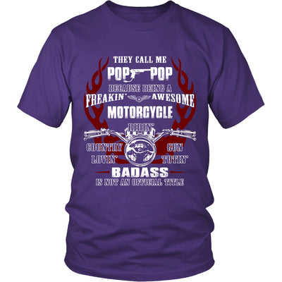 Badass Pop-Pop Motorcycle T-Shirt - Pop-Pop Motorcycle Shirt - TeeAmazing