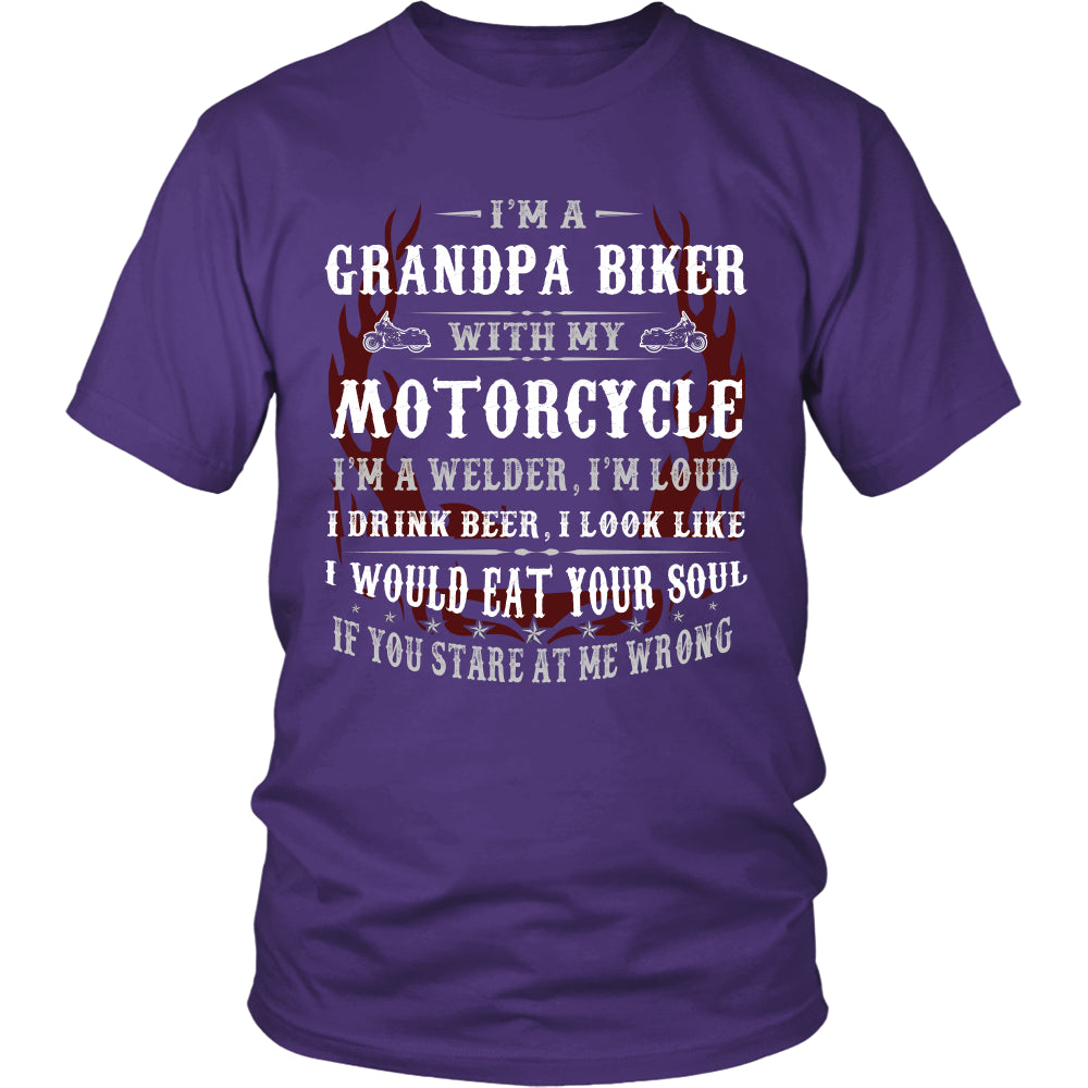 Grandpa Biker With My Motorcycle T-Shirt - Grandpa Motorcycle Shirt - TeeAmazing