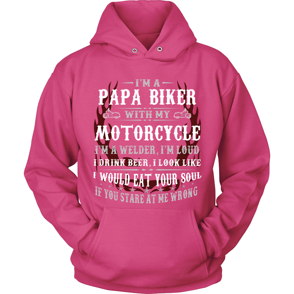 Papa Biker With My Motorcycle T-Shirt - Papa Motorcycle Shirt - TeeAmazing