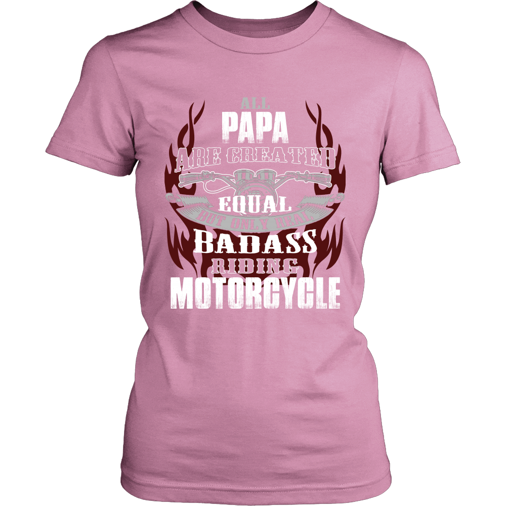 Created Equal Papa Motorcycle T-Shirt - Papa Motorcycle Shirt - TeeAmazing