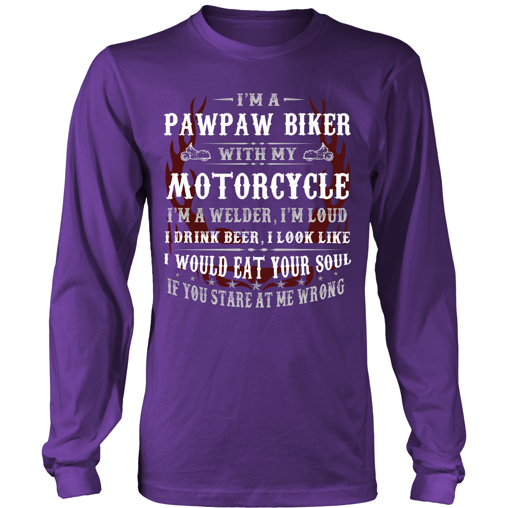Pawpaw Biker With My Motorcycle T-Shirt - Pawpaw Motorcycle Shirt - TeeAmazing