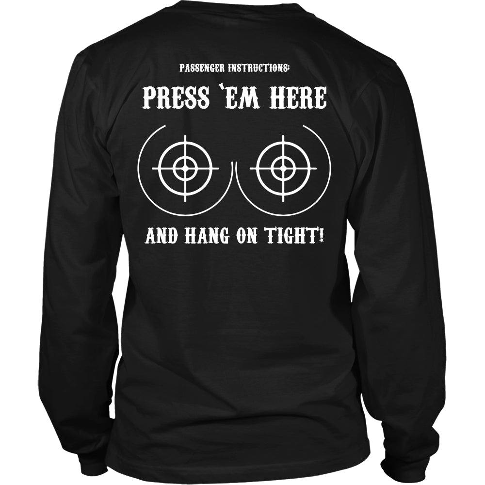 Press Em Here and Hang on Tight Bikers T-Shirt - Bikers Shirt - TeeAmazing