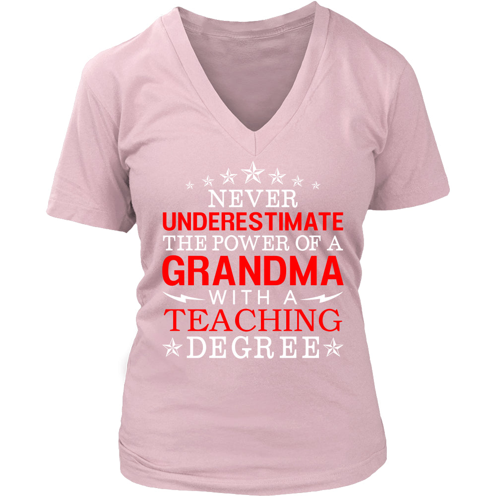 Never Underestimate Grandma Teaching T-Shirt - Grandma Shirt - TeeAmazing