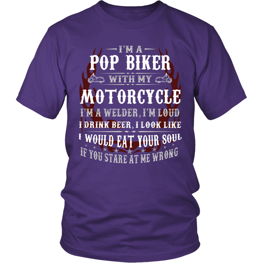 Pop Biker With My Motorcycle T-Shirt - Pop Motorcycle Shirt - TeeAmazing