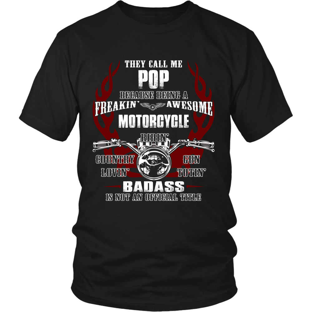 Pops Biker With My Motorcycle T-Shirt - Pops Motorcycle Shirt DT6000