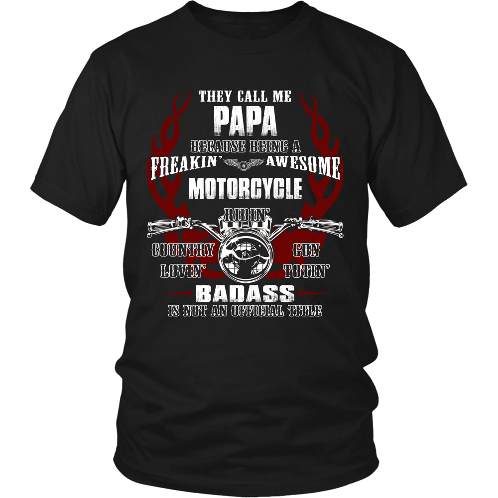 Badass Papa Motorcycle T-Shirt - Papa Motorcycle Shirt - TeeAmazing