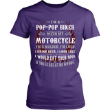 Pop-Pop Biker With My Motorcycle T-Shirt - Pop-Pop Motorcycle Shirt - TeeAmazing
