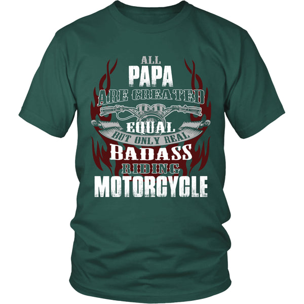 Created Equal Papa Motorcycle T-Shirt - Papa Motorcycle Shirt - TeeAmazing - 3