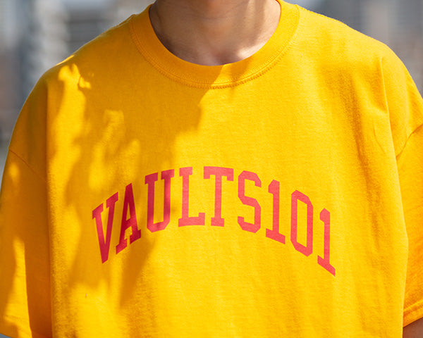 Vaults101 3rd drop college Tee Yellow (front)